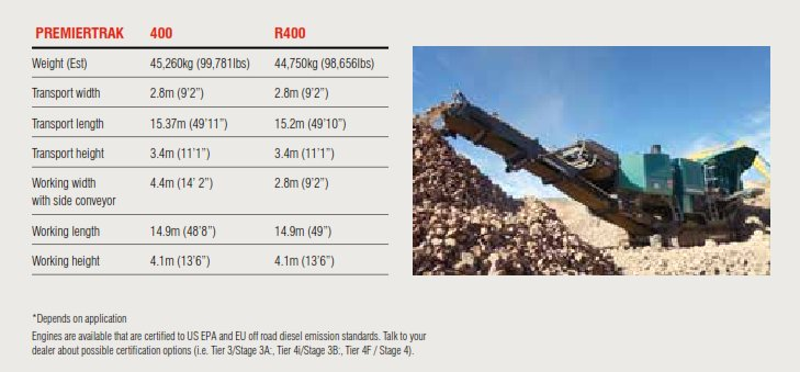 Premiertrak 400 Specifications