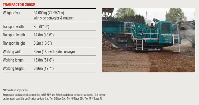 Trakpactor 260SR Specifications