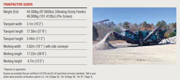 Trakpactor 320SR Specifications